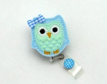 Owl Badge Reel- Owl Gifts- Designer Badge Reel- Feltie Badge Clip- Badge Reel Jewelry- Cute Name Tag Holder- Decorative Badges- Fun ID Wear