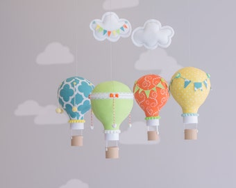 Bright and Colorful Baby Mobile, Lime Green, Orange, Bright Yellow and Teal, Hot Air Balloon, Nursery Decor, Personalized Baby GIft, i32