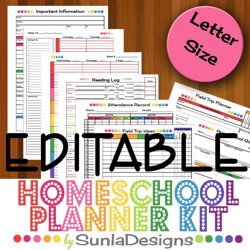 2016-17 EDITABLE Homeschool Planner Printable Homeschooling