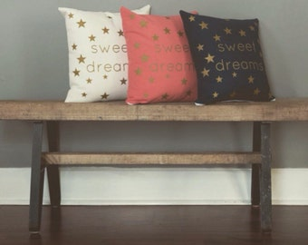 Handmade Canvas Pillow-Gold Screeprinted Pillow, Sweet Dreams, Nursery Decor, Throw Pillow