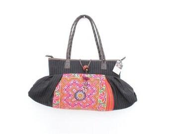 Hmong Handbag Vintage Fabric Unique Handmade Leather Strap (BG5062.15)