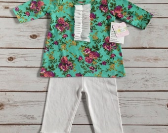 Baby Girl Clothes, 12 months, Spring Baby Girl Outfit, Shirt and Ruffle Pants