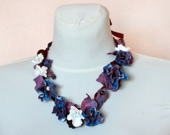Flower crown, Felt Necklace , navy blue burgundy, Felted Necklace ,Long Necklace of felt flowers, Ready to Ship