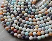10mm Multicolor Frosted Amazonite Gemstone Beads, Half Strand (IND1C105)