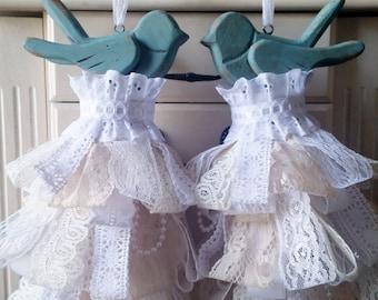 Love Birds-Aqua Distressed Vintage Lace Decorative Tassel Ornament Set (2) Wedding, Bridal Shower, Engagement, Anniversary, Baby Shower Gift
