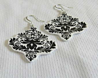 Black Damask Earrings - Dangle Earrings - Silver Dangle - Chandelier Earrings - Boho Statement - Handmade Jewelry - Gift For Her - Classic