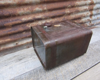 Large Vintage Metal Fuel Tank Heavily Rusted Aged Patina Industrial Display Decor Item Urban Salvaged Farm Tractor or Equipment Mechanical