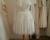 Petunia - Vintage Short Wedding Dress in Lace with Sleeves and Illusion Neckline
