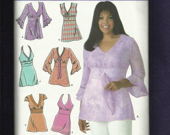 Simplicity 4277 Boho Chic Khaliah Ali Tops with V Neck & Sleeve Variations Sizes 10 to 18 UNCUT