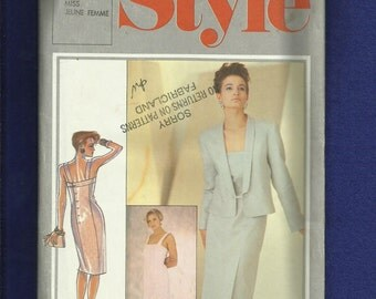 Vintage 1985 Style 4393 Designer Bruce Oldfield Fitted Back Button Dress & Shawl Collar Jacket Size 14 UNCUT