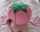 Tomato Pincushion with Strawberry PINK Fabric Sewing and Crafts Vintage