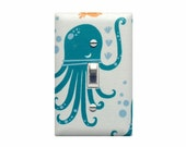 Octopus Party Light Switch Plate Cover / Nautical Girls Boys Room Bathroom Nursery Decor / Gender Neutral Unisex Under the Sea Monaluna