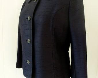 60's Rhinestone Button Navy Jacket Classic Designer Jackie O Jacket Cropped Woven Silk Shantung Blazer M