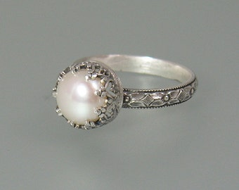 Pearl engagement ring - Edwardian style pearl ring - sterling silver cocktail ring - June birthstone ring - nontraditional engagement ring