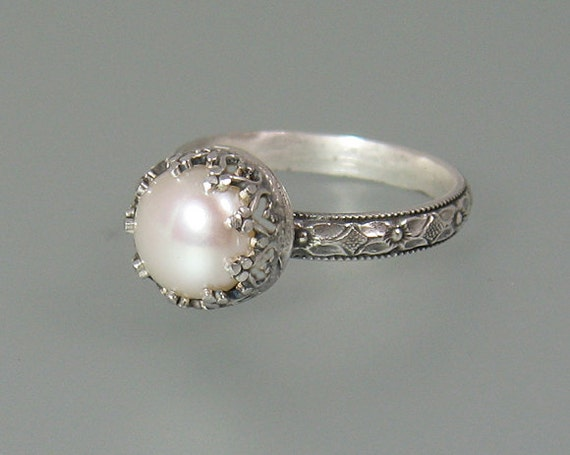 Pearl engagement ring Edwardian style pearl ring sterling