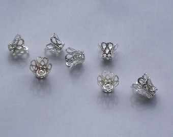 7mm Silver Filigree Bead Caps, ct 35