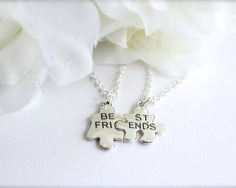 2 Best Friend Necklaces, Puzzle Pieces, Best Friend, Mother Daughter, Teen Tween Girls Charm, Friend Gift -- FREE Gift Packaging