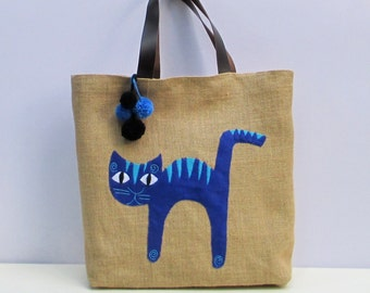 Blue cat appliqued on jute, stylish roomy handmade jute tote bag,unique,sporty chic, summer tote bag,colorful tote bag