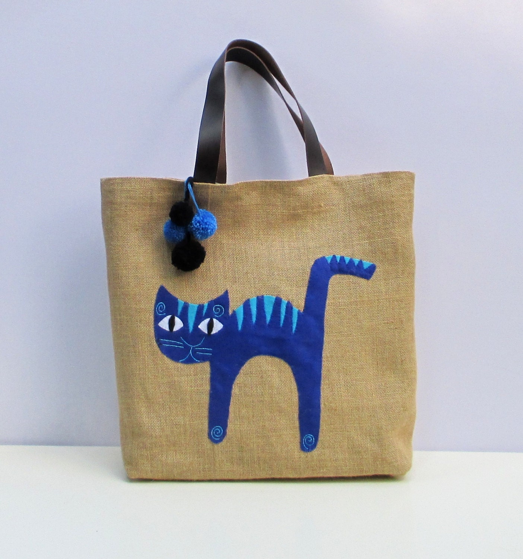 Blue cat appliqued on jute bag stylish roomy handmade tote