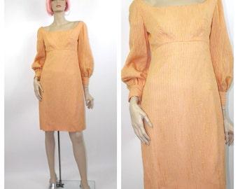 1960's to 1970's Orange Mini Dress // Empire Waist Mini Dress // Sherbert Orange // Size 4