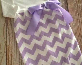Newborn Layette, Infant Gown, Baby Gown - Girl - Lavender Chevron
