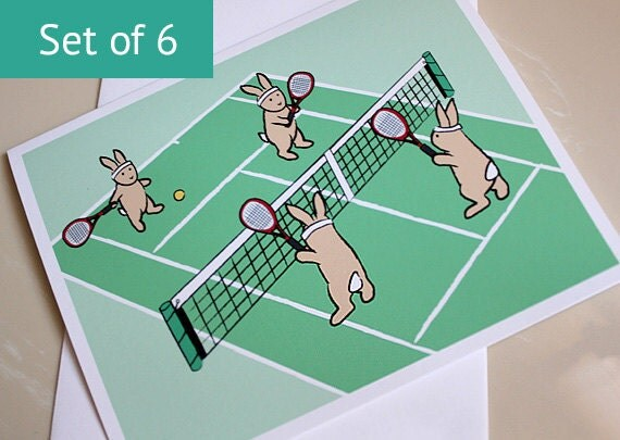 Bunny Rabbit Card - Tennis Cards - Blank Notecard Set (Set of 6)