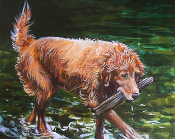 Golden Retrieving - 12x12 Colorful Modern ORIGINAL Acrylic Painting by Carrie Tasman