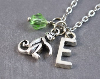 Monkey Necklace - Monkey Pendant - Personalized Birthstone Necklace - Monkey Jewelry - Personalized Initial Jewelry - Animal Pendant - Zoo