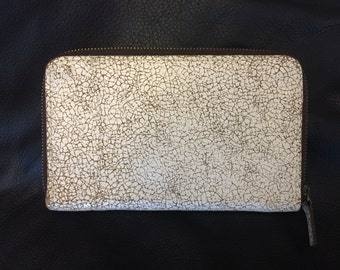 Beige Distressed Leather Wallet