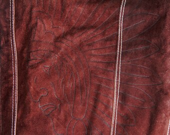 Vintage Mens Suede Leather Vest Native American Indian Head Feathers Tooled Shearling 1970s Medium