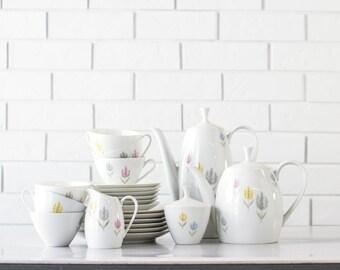 Arzberg China Tea Set - Modern Flowers - 3004 Pattern - Coffee Pot - Arzberg Teapot - Dessert Plates - Set of 22