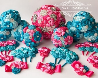 Bridesmaids Brooch bouquet, turquoise hot pink fuchsia brooch bouquets.