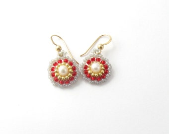 FREE SHIPPING small dainty romantic Pearl earrings,gold and red, small circle earrings, valentines day gift