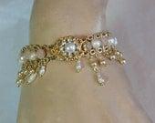 Bridal Pearl Bracelet Pearl Gold Wedding Bracelet Pearl Rhinestone Vintage Style Wedding Bracelet Victorian Style Drop Pearls Antique Look