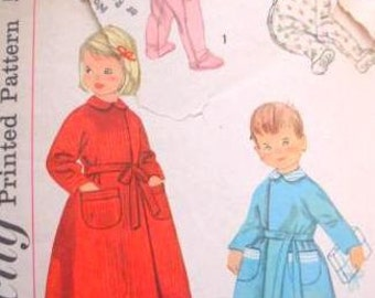 Simplicity 2290 toddler pajamas and robe pattern, chest 21 pattern, waist 20 pattern, childs robe pattern, childs pajamas, 1950s pattern