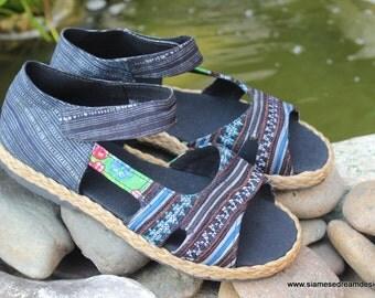 Womens Shoes Vegan Espadrilles In Hmong Embroidery & Indigo Batik Open Toe Mary Janes  Flat Shoe - Cealie