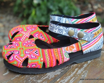 Womens Shoe Mary Jane Style In Pink Hmong Embroidery Vegan Espadrille - Dahlia