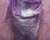 FREE SHIPPING!!! Lilac with pink shadows Hand Knitted Shawl