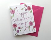 Happy Valentines Day card watercolor hand lettering pink flowers