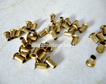 Brass Rivets, raw brass, metal jewelry findings, supplies, brass jewelry, grommets, eyelets, deep, tube, unusual, rare