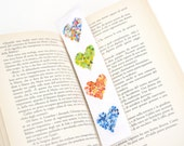 Back To School laminated bookmark - rainbow colorful hearts