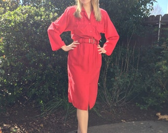 1980s MED red button down faux two piece business work dress