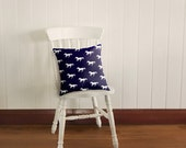 White Pony on Ink Cushion Cover, Galloping Horses on Dark Blue Ink Background | Made to Order