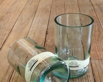 4,5 inch hand cut fontana wine bottle tumbler duo
