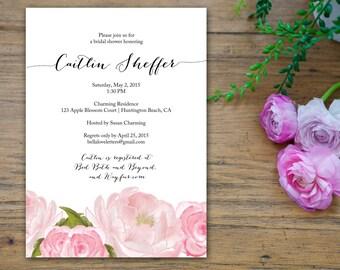 Pink Blossoms Romantic Elegant Flower Bridal Shower Invitation - customized 5x7 printable - print bridal shower invites rose peony whimsical