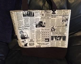 Tote, Market Bag, Book Bag, Travel Tote, Work Tote, Black & White, Sewing News, Newsprint, Quilting