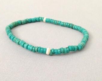 Torquoise Green Stretch Beaded Bracelet,Howlite,Gemstone,Stacking,Layering, Boho,White Turqoise