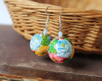 Hand painted Wooden Earrings Flower Earrings Colorful Earrings Folk style Earrings White Pink Blue Green Wooden Jewelry Russian Jewelry