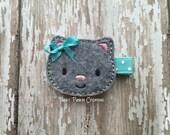 Kitten Hair Clip, Gray Kitty Hair Clip, AQUA Hair Clip, Cat Hair Clip, Kitty Feltie, Hair Bow for Infant, Baby, Toddler or Girls