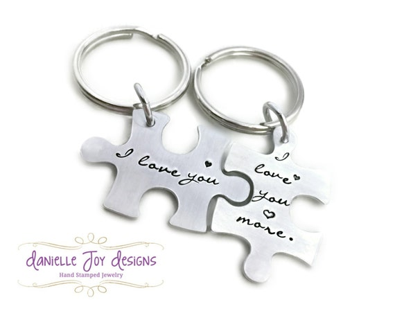 Hand Stamped Jewelry Personalized Jewelry - I Love You - I Love You More - Custom Interlocking Matching Couples Puzzle Piece Key Chains
